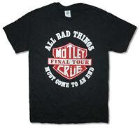 Motley Crue Final Tour 2014 Shield Black T Shirt New Official All Bad Things