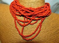 Artisan Handmade Coral Seed beads on black Elastic Cords Necklace Choker