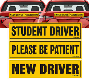 New Student Driver Please be Patient Car Magnet Sign Sticker Rookie Teen Permit