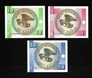 Kirghizistan, set 3 billets, 1, 10, 50 Tyin UNC