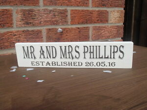 Mr & Mrs established free standing personalised wooden handmade sign top table