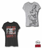 Womens Disney Mickey Minnie Mouse Character Short Sleeve T-Shirt Top 100% Cotton