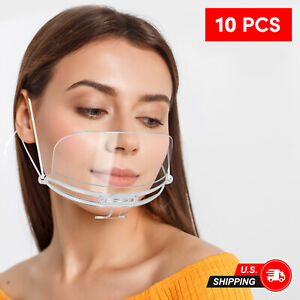 10 PC Reusable Clear Mouth Shield Mouth Guard Cover for Restaurant Kitchen Hotel