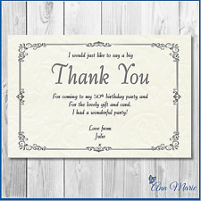 10 x PERSONALISED SILVER BIRTHDAY THANK YOU CARD ANY AGE/OCCASION WITH ENVELOPE