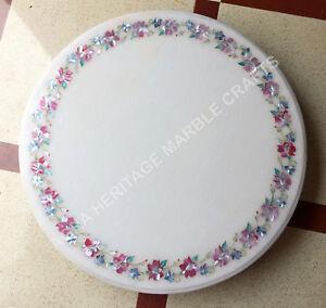 "24"" White Marble Round Coffee Cafe Table Top Precious Pink Stone Home Decor E751"