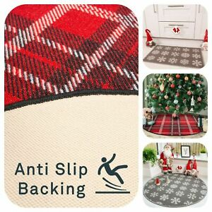 Christmas Tree Skirt   Tartan Snowflakes Doormat   Cheap Washable Non Slip Mats