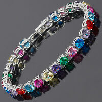 Xmas 26x6mm Round Cut Multi-Color Dainty Gem 18K White Gold GP Tennis Bracelet