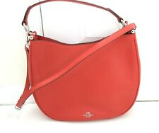 NEW COACH Nomad Hobo Carmine Red Glovetanned Leather Purse Handbag 36026
