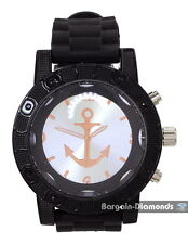 mens big black watch rose gold navy anchor silver dial black sport strap