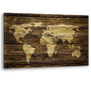 World Map on Wood Background Large Luxury Canvas Wall Art Picture Print A0 A2