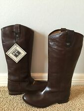 """HUGE SALE New FRYE Melissa Button Brown Wide Width 14"""" Leather Boots Sz 7 $368"""