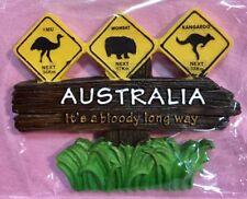 1 X Souvenir 3D Australia Signpost Australia It's Bloody Long Way Fridge Magnet