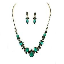 Emerald Green Crystal Cluster Drop Gold Tone Necklace Earring Set Bridal Formal