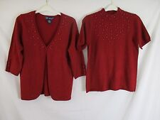 Susan Graver Womens M Red Metallic Embellished Christmas Sweater Twinset AA324