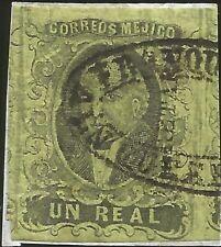 J) 1861 Mexico, Un Real, Hidalgo, District Queretaro, Oval Cancellation, Mn