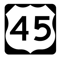 US Route 45 Sticker R1908 Highway Sign Road Sign