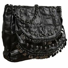 YALUXE Womens Skull Studded Bling Tassel Lambskin Leather Purse Cross Body Bag 1