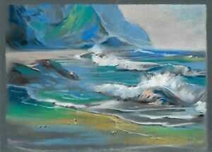 original drawing 25x35 cm 203GZ art Pastel modern seascape the mountains Signed