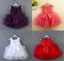 Infant Toddler Baby Kids Girls Princess Party Tutu Tulle Bow Flower Infant Dress