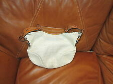 GENUINE COACH HANDBAG MED SIZE CREAM COLOR WITH LEATHER STRAP EMBOSSED FABRIC