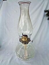 Kerosene Lamp Antique Clear Base Wick Chimney 14 in.Tall
