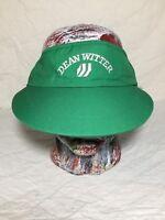 Dean Witter Company Green White Adjustable Visor Strapback Hat Ball Cap Vtg 90s