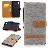Housse pour Sony Xperia Xa1 Jeans Cover Téléphone Portable Etui Portefeuille