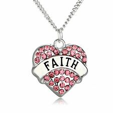 Pink Faith Pendant Silver Plated Necklace, Gifts for Her, Friend Gift