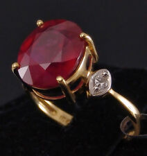 5.38ct Genuine Madagascan Ruby Solitaire with Zircon Accents in 10k Gold, Size 6
