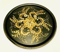 "Large 21"" Round Metal Hand Painted Floral Tole Serving Tray or Wall Decor"
