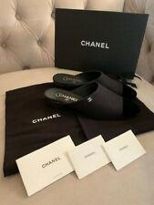 New Chanel Women CC Logo Fabric Velvet Low Heel Mules Slip on Black Sz 38.5 NIB!