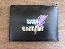 Yves Saint Laurent Black Leather Clutch / Pouch SEE PICTURES NICE