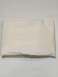 LUXURIOUS MATOUK 100% Egyptian Cotton USA Twin Flat Sheet White - Green Pintucks