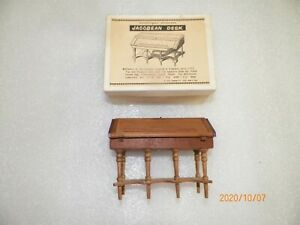 VINTAGE MINATURE HANDCRAFTED CHERRYWOOD JACOBEAN DESK -NIB