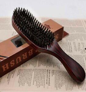 Unisex Natural Curved Soft Boar Bristle Wave Hair Brush Wooden Handle Premium