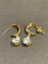 14K Gold Hoop and CZ Dangle Earrings - 21 mm - 1.8 grams