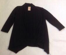 Girl's Black Cardigan Sweater Sz S 6-6X Open Light Layering Top Asymmetrical