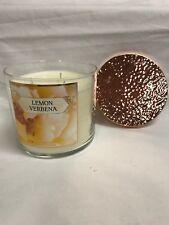 Bath & Body Work LEMON VERBENA 3 Wick Jar Candle w/ Decorative Lid 14.5 oz