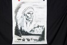 Ready to Paint by Number Felt Poster Tri Chem Liquid Embroidery Indian Chief