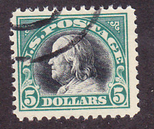 US Scott 524 old $5 Franklin issue U/VF CV $35