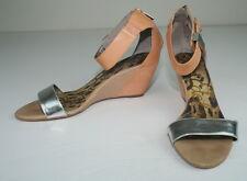 Sam Edelman Brown Camel Silver Sophie Zippered Back Ankle Strap Wedge Heels 9
