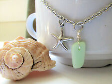 Mint Green SEA GLASS Silver Starfish Necklace