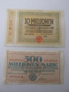1923 Duisburg Hyper-Inflationary Notes Lot of 3