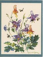 VINTAGE PURPLE ORANGE FUCHSIA FLOWERS BUMBLE BEES BOTANICAL PRINT ART NOTE CARD