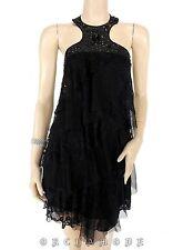 Tunique Robe S.C FASHION T. 36 S 1 Noir Volant dentelle Perle Soirée NEUF Dress