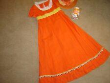 Victorian Dickens Emma gown dress orange linen short sleeves hat mitts sz S