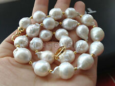 "P5958-17""13-17mm natural white baroque keshi reborn freshwater pearl necklace"
