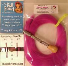 Mini Kit Rerooting Tool+8 Needles XL 2 oz of Nylon Doll Hair for Dolls & Ponies