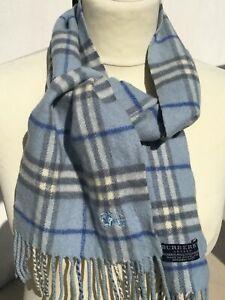 """Superbe et authentique foulard écharpe """"BURBERRY"""" bleue laine + cachemire scarf"""