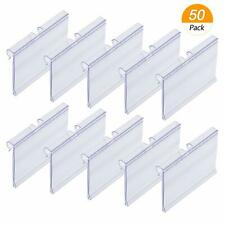 Meetory 50 Pcs Clear Plastic Label Holders for Wire Shelf Retail Price Label